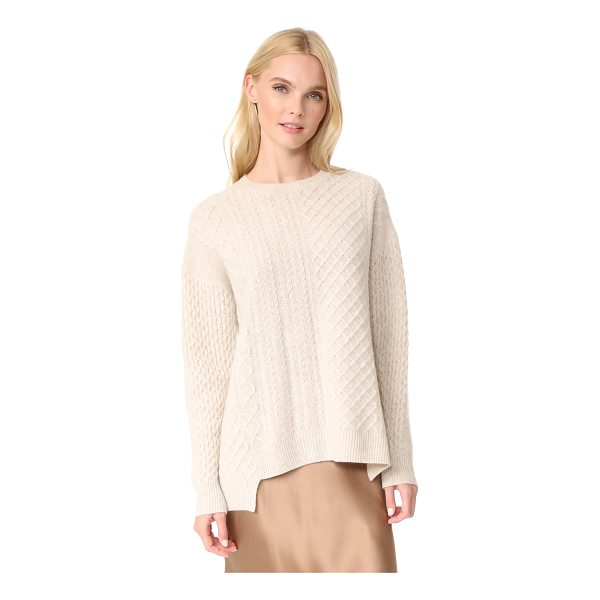 PRINGLE OF SCOTLAND long sleeve asymmetrical sweater - Cable designs lend rich texture to this luxurious...