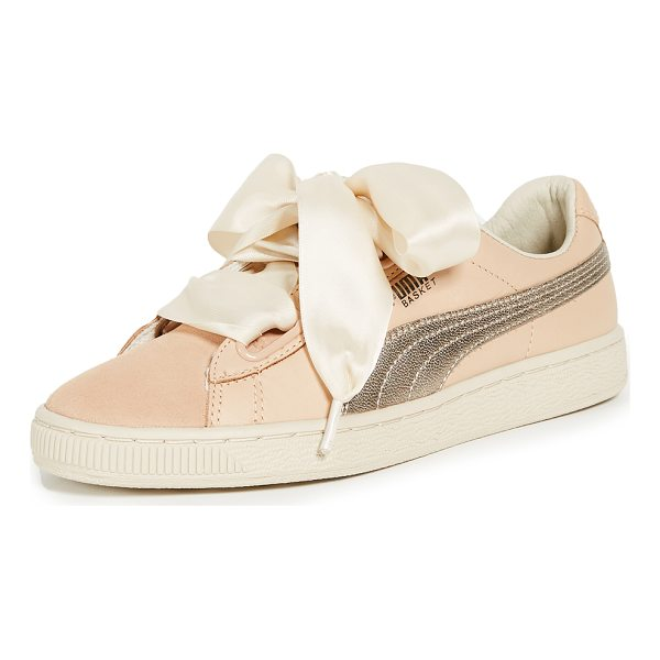 PUMA basket heart up sneakers - Leather: Cowhide Satin laces Wide eyelets Suede tongue and...