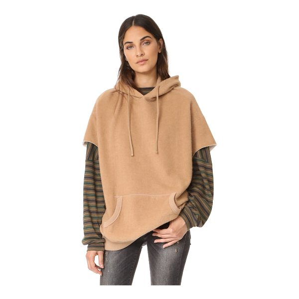 R13 camel cut sleeve hoodie - Brushed camel hair lends a cozy feel to this oversized R13...
