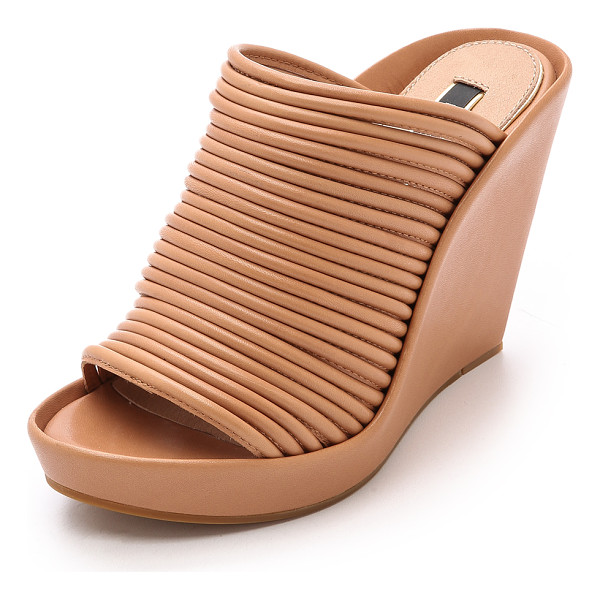 RACHEL ZOE Keyla wedge mules - Tubular leather straps lend a ribbed look to these Rachel