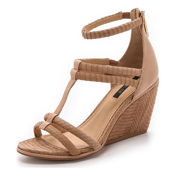 RACHEL ZOE Nancy strappy wedges - Tactile snakeskin and smooth calf compose these strappy