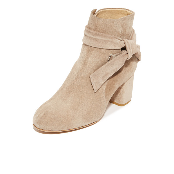 RAG & BONE dalia booties - A wide strap wraps the split shaft on these smooth suede...