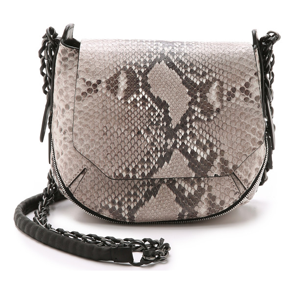 RAG & BONE Printed python bradbury mini chain hobo bag - This python embossed Rag & Bone mini bag has a two way zip