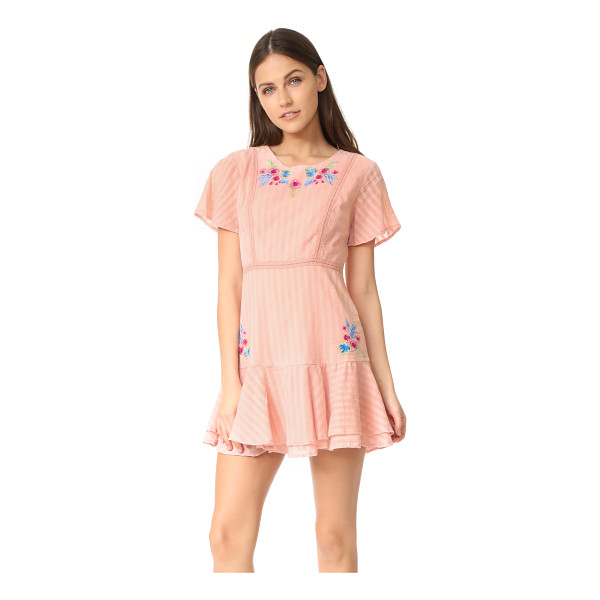 RAHICALI tropics ruffle dress - NOTE: Runs short. Embroidered flowers accent this charming,...