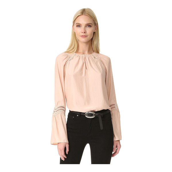 RAMY BROOK astrid wave trim blouse - Smocking accents the round neckline on this graceful Ramy...