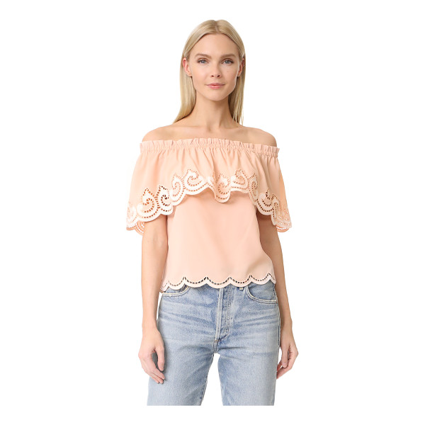 RAMY BROOK kira embroidered off shoulder top - Intricate cutouts and embroidered swirls bring elegant...