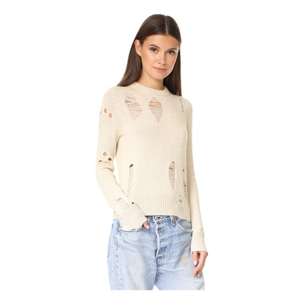 RAQUEL ALLEGRA fitted cashmere crew - Drop-stitch holes lend a grunge feel to this cashmere...