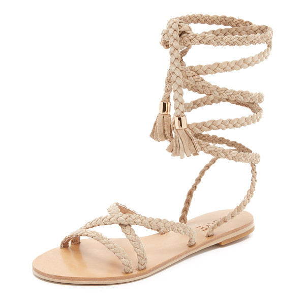 RAYE Sadie gladiator sandals - Braided straps crisscross these smooth suede Raye gladiator