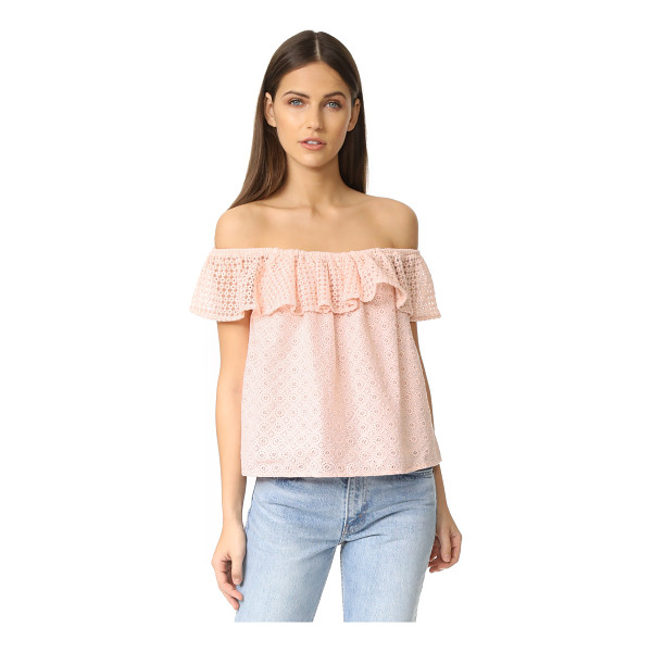 REBECCA MINKOFF celestine top - An embroidered mesh flounce accents the off-shoulder...