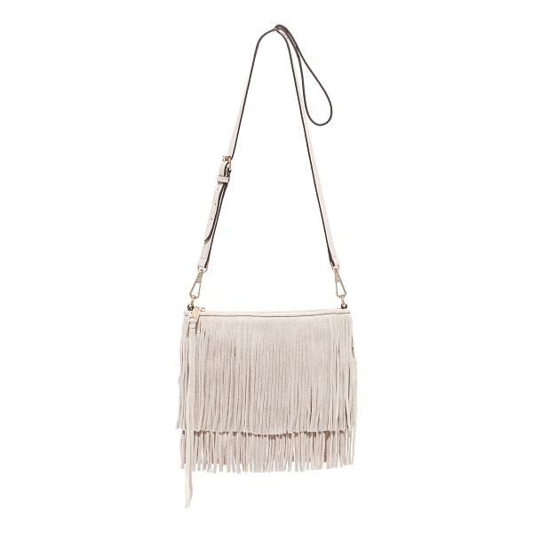 REBECCA MINKOFF Rebecca Minkoff Finn Cross Body Bag - This soft suede Rebecca Minkoff clutch has tiered fringe on