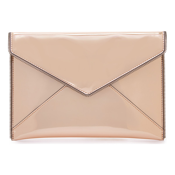 REBECCA MINKOFF leo clutch - Exposed zipper trim brings industrial edge to this metallic