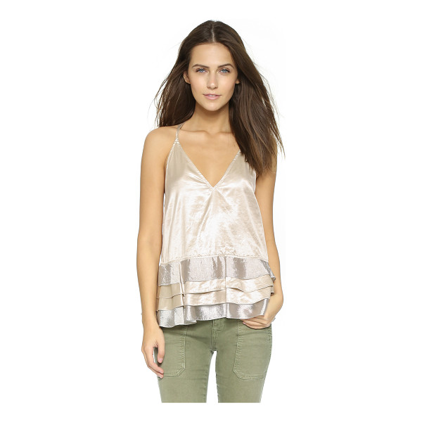 REBECCA MINKOFF Metallic top - A tiered hem brings playful swing to this Rebecca Minkoff...
