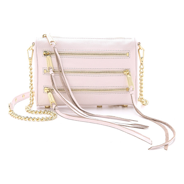 REBECCA MINKOFF Mini 5 zip cross body bag - A trio of polished zips finishes a smooth leather Rebecca