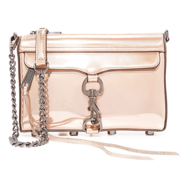 REBECCA MINKOFF mini mac cross body bag - A classic Rebecca Minkoff bag, rendered in metallic faux