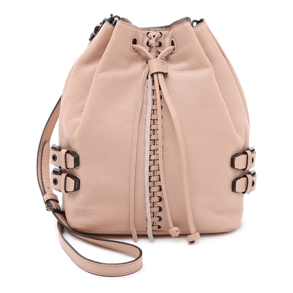 REBECCA MINKOFF Moto bucket bag - Decorative stitching accents the center of this pebbled