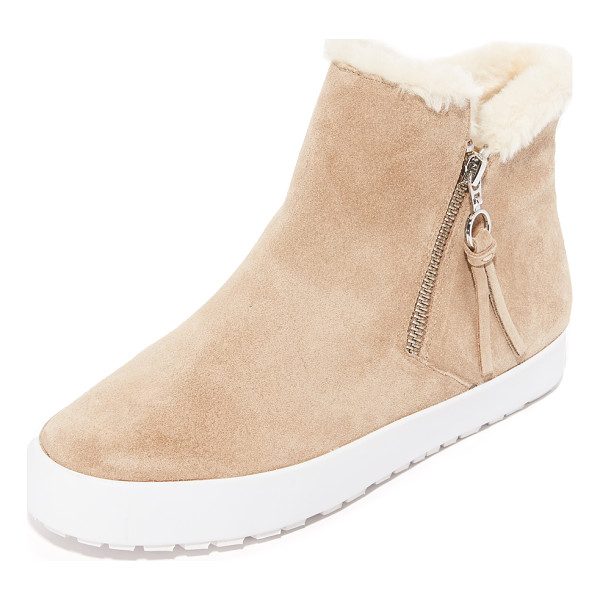REBECCA MINKOFF shelly sherpa booties - A contrast platform lends sneaker styling to these suede...