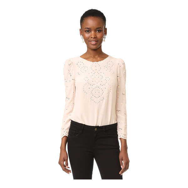REBECCA TAYLOR long sleeve eyelet top - Intricate eyelet embroidery details this silk Rebecca...