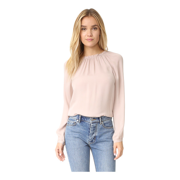 REBECCA TAYLOR long sleeve georgette ruffle top - Lightweight elastic gathers the neckline on this breezy...