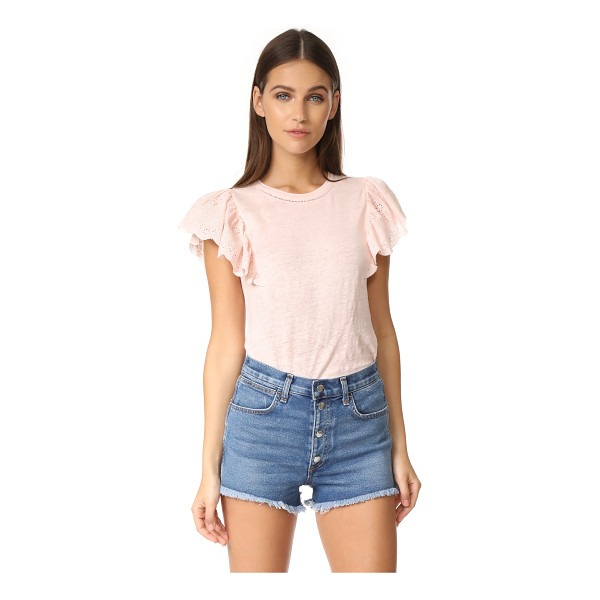 REBECCA TAYLOR ruffle tee - Charming eyelet material forms the short flutter sleeves of...