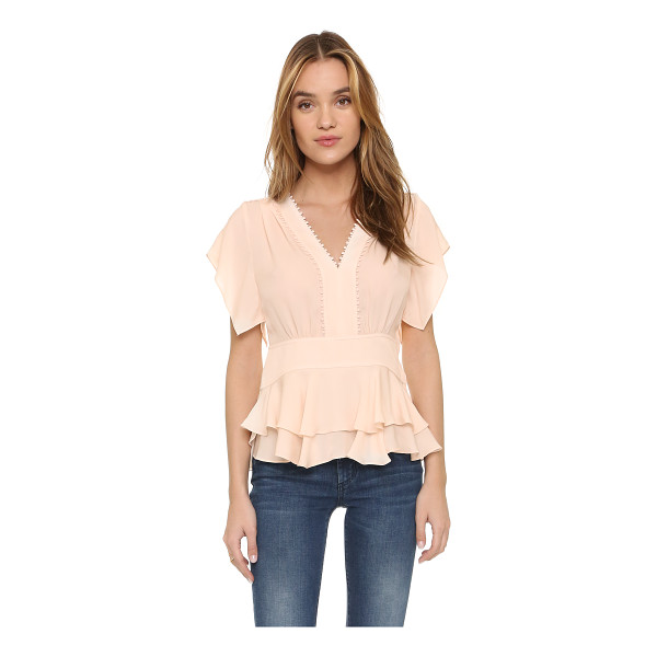 REBECCA TAYLOR Ruffled v neck top - A ladylike Rebecca Taylor blouse, styled with petite pom...