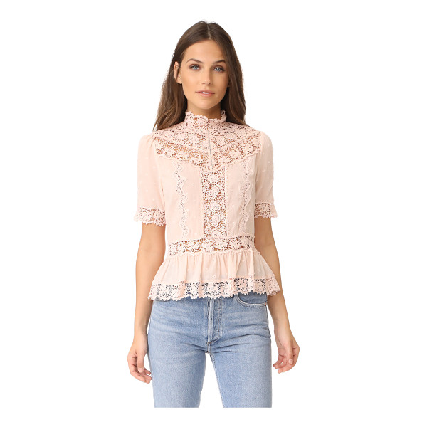 REBECCA TAYLOR short sleeve eyelet top - Lace insets and tonal embroidery bring romantic style to...