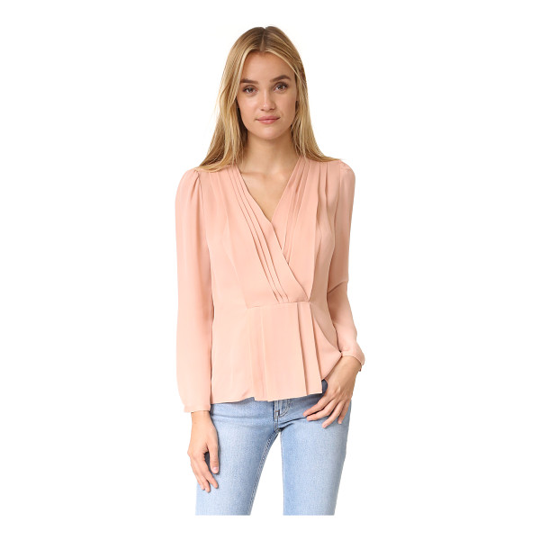 REBECCA TAYLOR silk wrap top - Pleats accent the plunging neckline on this elegant, faux...