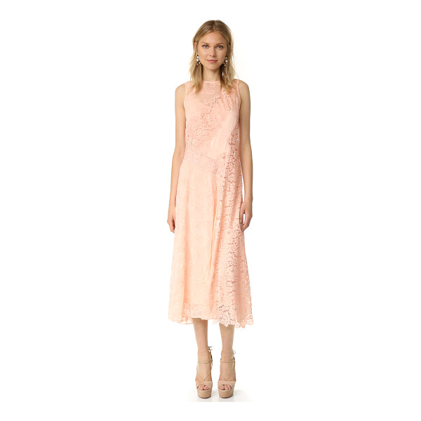 REBECCA TAYLOR sleeveless chevron lace dress - Mixed materials in a single tone lend a subtle patchwork...
