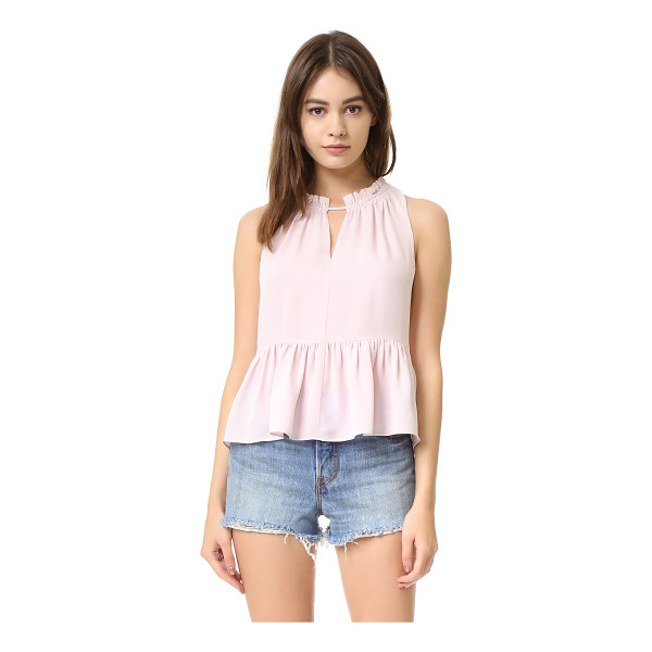 REBECCA TAYLOR Sleeveless peplum top - A feminine Rebecca Taylor top with ruffles at the neckline...
