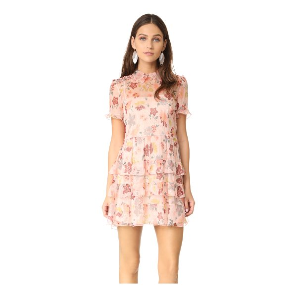RED VALENTINO collared ruffle dress - This feather-light RED Valentino floral dress is accented...