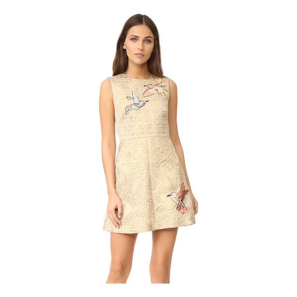 RED VALENTINO embroidered jacquard dress - Beaded hummingbirds accent this A-line RED Valentino dress,...