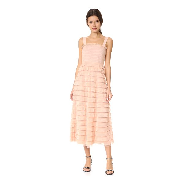 RED VALENTINO tulle ruffle dress - Dainty ruffles with embroidered pinstripes accentuate the...