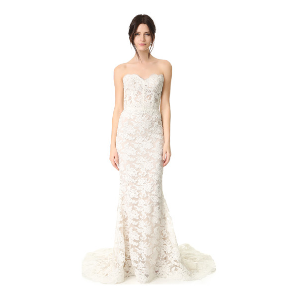 REEM ACRA angelica lace strapless gown - This romantic Reem Acra gown is made from delicate lace and...