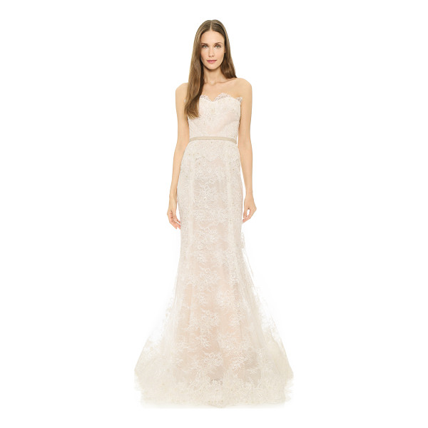 REEM ACRA i'm beautiful strapless gown - A contrast lining brings soft color to this ethereal Reem...