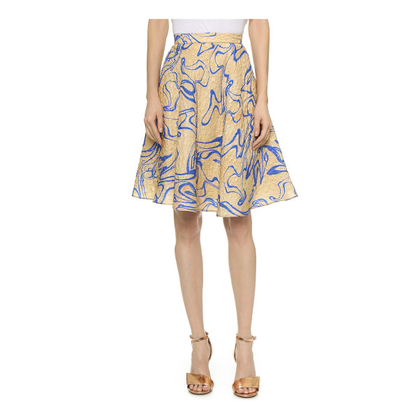 RODARTE Silk cloque flare skirt - A serpentine pattern lends a graphic touch to this...