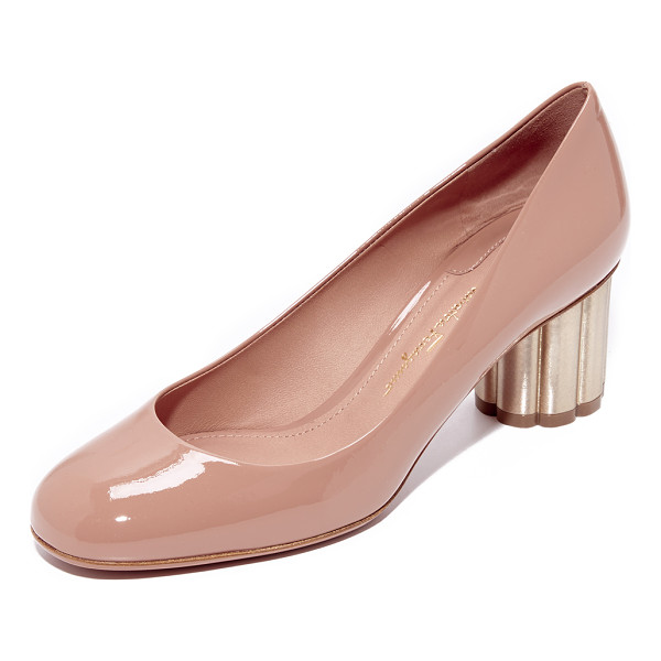 SALVATORE FERRAGAMO lucca pumps - A scalloped metal heel adds eye-catching style to these...