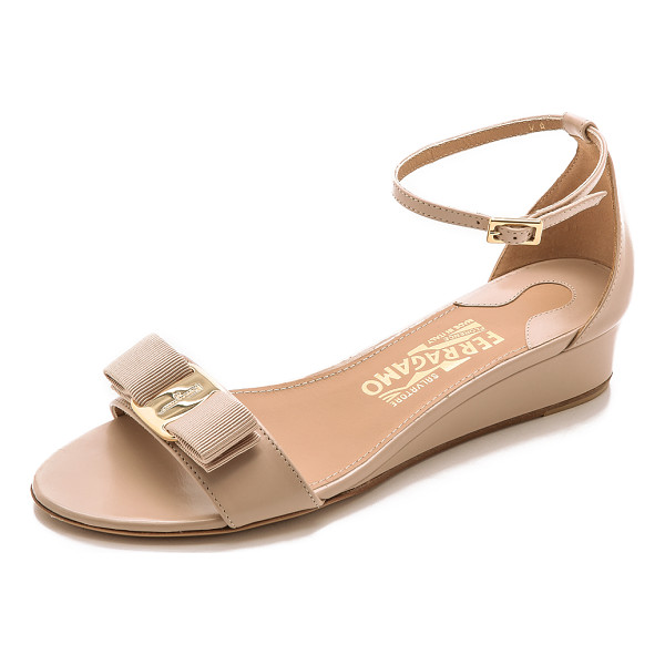 SALVATORE FERRAGAMO Margot wedge sandals - These elegant, low heeled Salvatore Ferragamo sandals are