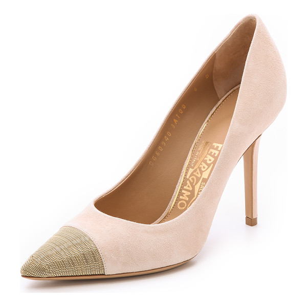 SALVATORE FERRAGAMO More chain pumps - Shimmering, chain covered toe caps give these velvety suede...