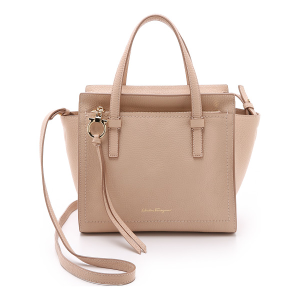 SALVATORE FERRAGAMO small amy tote - An elegant Salvatore Ferragamo handbag in wrinkled leather.