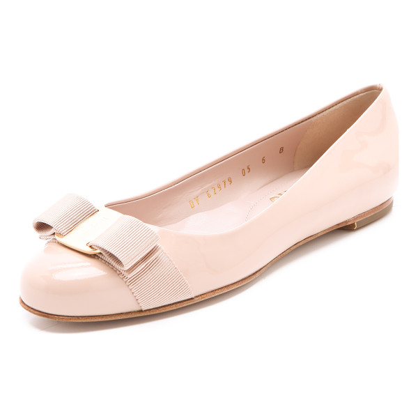 SALVATORE FERRAGAMO Varina patent bow flats - Pale, luxe patent leather lends irresistible appeal to...