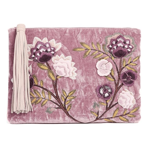 SAM EDELMAN azalea velvet story clutch - A crushed velvet Sam Edelman clutch with floral embroidery...
