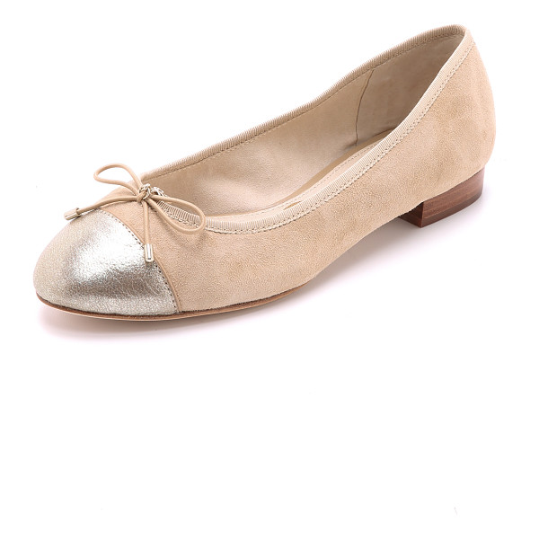 SAM EDELMAN Bev cap toe ballet flats - A bow and logo charm add a sweet touch to suede Sam Edelman