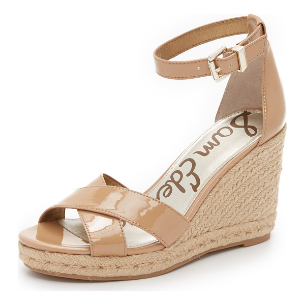 SAM EDELMAN Brenda espadrille wedge sandals - Patent faux leather Sam Edelman sandals with a braided jute...