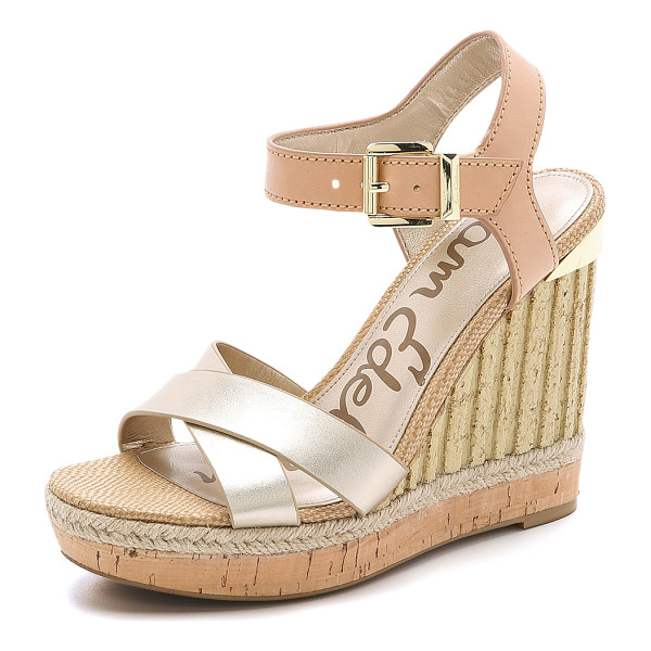 SAM EDELMAN Clay wedge sandals - Matte and metallic sections bring subtle contrast to these...