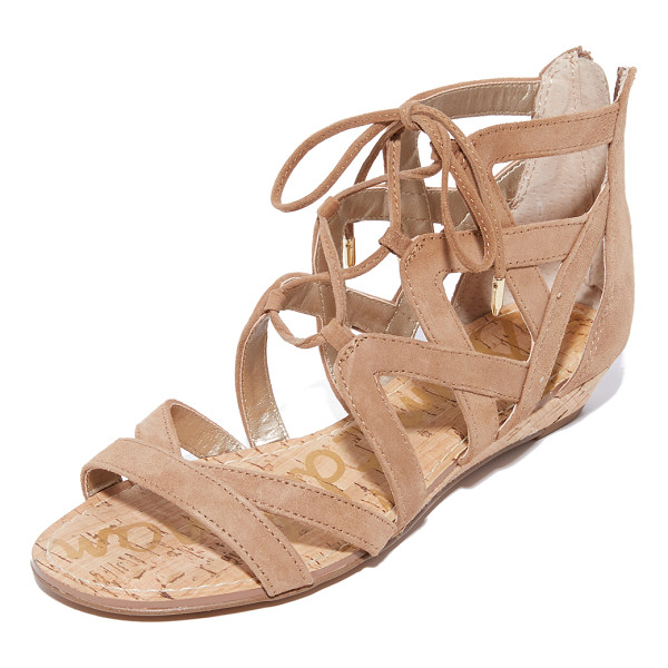 SAM EDELMAN dawson wedge sandals - A low cork wedge adds a subtle lift to these suede Sam