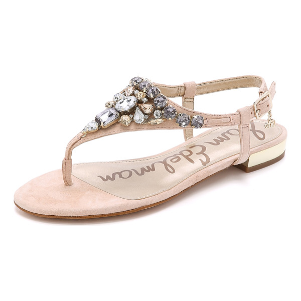 SAM EDELMAN Dayton jeweled suede sandals - A jeweled vamp and mirrored heel bring bold shine to these...