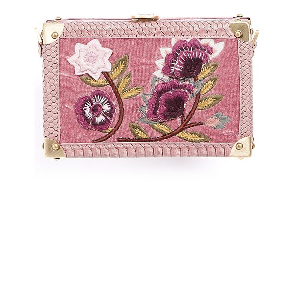 SAM EDELMAN gabrielle frame clutch - A velvet-wrapped Sam Edelman box clutch with snake-embossed...