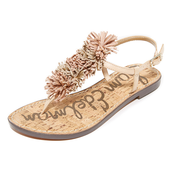 SAM EDELMAN gates fringe sandals - Playful pom-poms trim the T-strap on these Sam Edelman