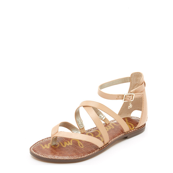 SAM EDELMAN Gilroy Flat Sandals - Slim straps crisscross these smooth leather Sam Edelman