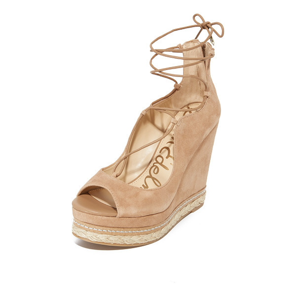 SAM EDELMAN harriet wedges - Layers of braided jute and cork trim add natural style to...