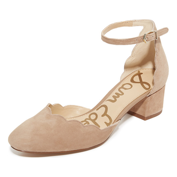 SAM EDELMAN lara mary jane heels - A scalloped top line adds a feminine touch to these suede...